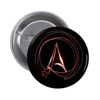 Athée en rouge badge rond 5 cm