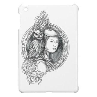 Athéna avec le hibou sur le cercle de circuit coque pour iPad mini