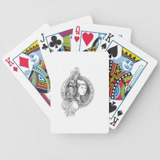 Athéna avec le hibou sur le cercle de circuit jeu de cartes