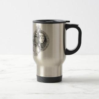 Athéna avec le hibou sur le cercle de circuit mug de voyage