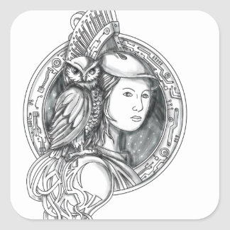Athéna avec le hibou sur le cercle de circuit sticker carré