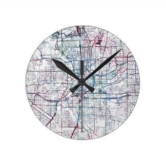 atlanta map painting horloge ronde
