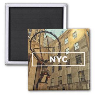 Atlas dans NYC Magnet Carré