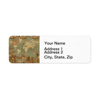 Atlas d'antiquité de carte du monde étiquette d'adresse retour