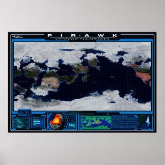 Atlas de planète de Pirawk Posters