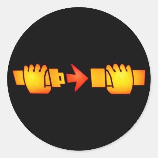 Attachez les autocollants ronds de signe de