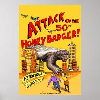 Attaque du blaireau de miel de 50ft ! Affiche Posters