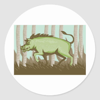 Attaque sauvage de verrat de porc de balénoptère sticker rond