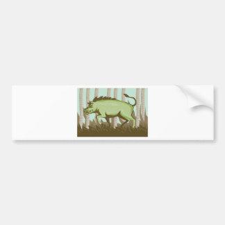 Attaque sauvage de verrat de porc de balénoptère autocollant de voiture