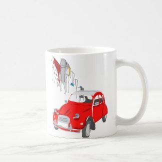 Attaquez avec la voiture vintage de Citroen 2CV de Mug Blanc