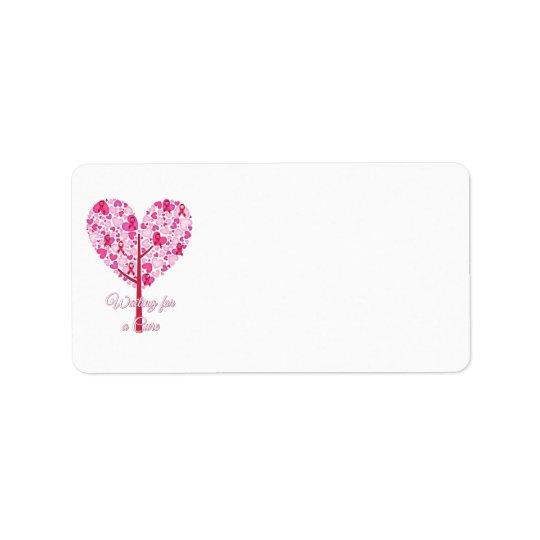Attente d'un arbre de ruban de rose de cancer du étiquette d'adresse