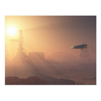 Atterrissage poussiéreux sur la colonie de Mars Carte Postale