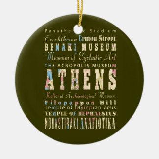 Attractions et endroits célèbres Athènes, Grèce Ornement Rond En Céramique
