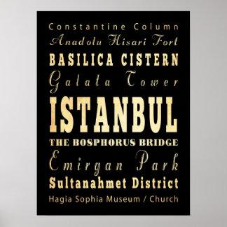Attractions et endroits célèbres d Istanbul Turqu Posters