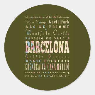 Attractions et endroits célèbres de Barcelone, Sticker Rond
