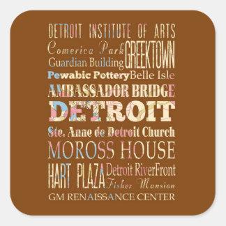 Attractions et endroits célèbres de Detroit, Sticker Carré