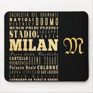 Attractions et endroits célèbres de Milan, Italie Tapis De Souris