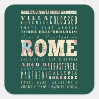 Attractions et endroits célèbres de Rome, Italie Sticker Carré
