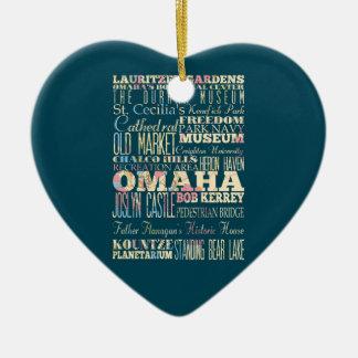 Attractions et endroits célèbres d'Omaha, Nébraska Ornement Cœur En Céramique