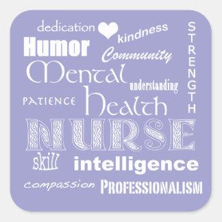 Attribut-Lilas de fierté d'infirmière de santé Sticker Carré