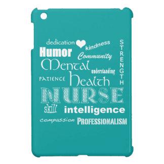 Attributs d'infirmière de santé mentale+Coeur/Aqua Étuis iPad Mini