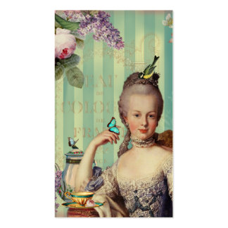 Au de Thé petit Trianon sur l'ivoire avec les rose Modèle De Carte De Visite