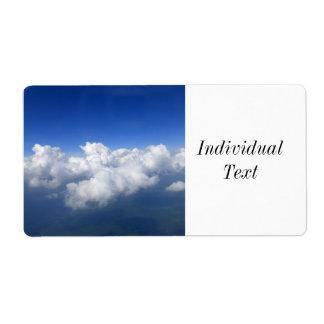 Au-dessus des nuages étiquette d'expédition