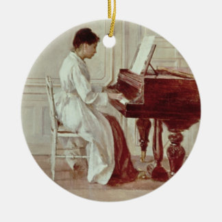 Au piano, 1887 (huile sur la toile) ornement rond en céramique
