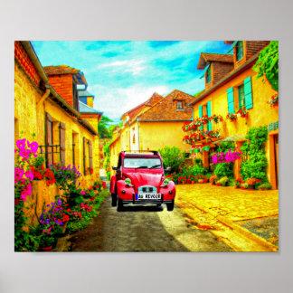 Au Revoir-Conduisant par un village dans l'art de Posters
