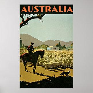 Au soleil voyage vintage de l'Australie de ~ Affiche