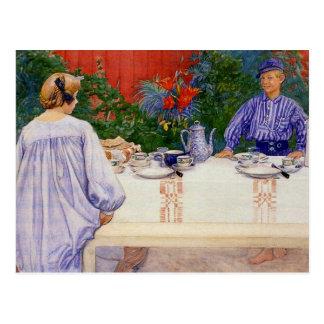 Au tableau de petit déjeuner 1910 carte postale