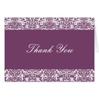 Aubergine et note blanche de Merci de damassé Cartes De Vœux