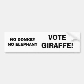 Aucun âne aucun éléphant, girafe de vote ! autocollant de voiture