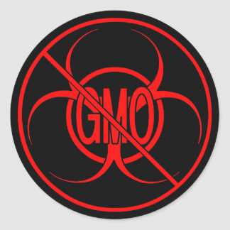 Aucun Biohazard d'autocollants de GMO avertissant Sticker Rond