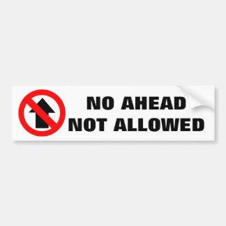 Aucun panneau d'avertissement en avant non permis autocollant pour voiture