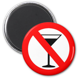 Aucun signe d'alcool magnet rond 8 cm