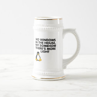 Aucunes fenêtres dans la maison… chope à bière