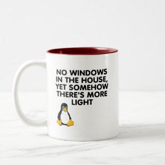Aucunes fenêtres dans la maison… mug bicolore