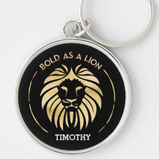 Audacieux comme porte - clé de lion porte-clé rond argenté