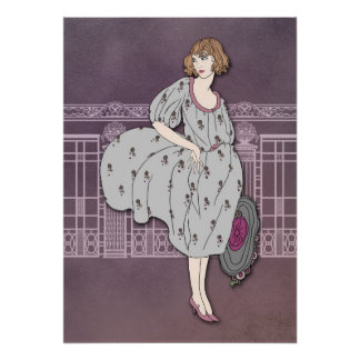 AUDREY : La mode d'art déco dans le gris et s'est  Poster