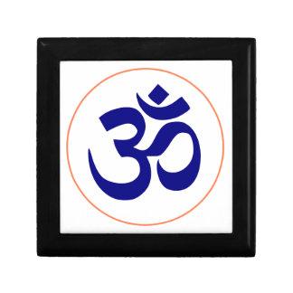 Aum ou symbole de l'OM (bleu avec l'anneau de Petite Boîte À Bijoux Carrée