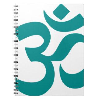 Aum ou symbole de l'OM (couleur, simple cyan, Carnet À Spirale