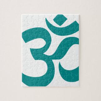 Aum ou symbole de l'OM (couleur, simple cyan, Puzzle
