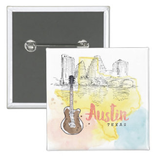 Austin, croquis d'aquarelle du Texas | Badges