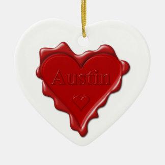 Austin. Joint rouge de cire de coeur avec Austin Ornement Cœur En Céramique