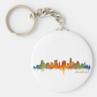Austin Texas watercolor skyline v2 Porte-clé Rond