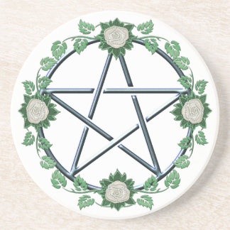 Autel païen Paten de sorcière de pentagramme rose Dessous De Verre En Grès