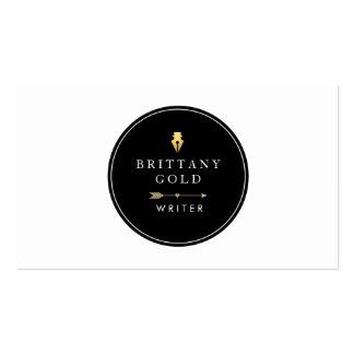 Auteur, carte de visite d'auteur - or chic et noir
