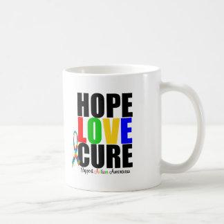 Autisme de ruban de puzzle de foi d'amour d'espoir mug blanc