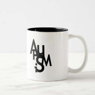 Autisme (lettres brouillées) mug bicolore